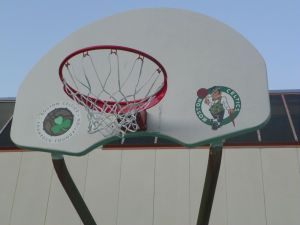 Basketball Hoop Painted with Celtics Logos