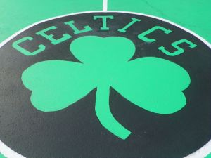 Celtics Logo on Basketball Court