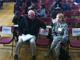Charlie Rose, Restaurant Owner and City Year Dean, mingling with June Fonteyne, Senior Master Sargent Air Force Medic.