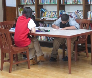 Small group mentoring at the Young Achievers School.