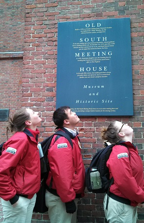 Corps members exploring sites along the the Freedom Trail in Boston